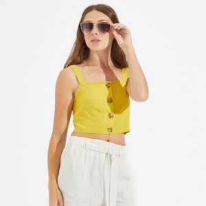 🏝5 for $12! NWT Button Front Linen Crop Tank